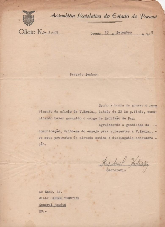 Cópia da correspondência da Assembleia Legislativa do Estado do Paraná onde agradece  a comunicação de posse como cartorário em General Rondon.