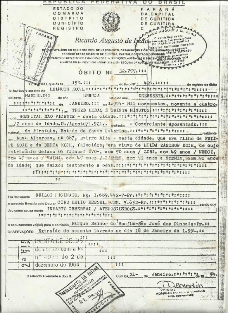 Certidão de óbito do pioneiro rondonense Helmuth Koch, no dia 17 de janeiro de 1994, em Curitiba.  Imagem: Acervo Clélia Regina Ritter