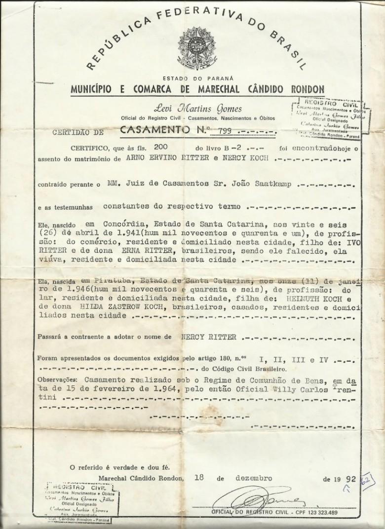 2ª Via da Certidão de Casamento de Arno Ritter e Nercy Koch que aconteceu em 15 de fevereiro de 1964, assentado no antigo Cartório de Willy Carlos Trentini.