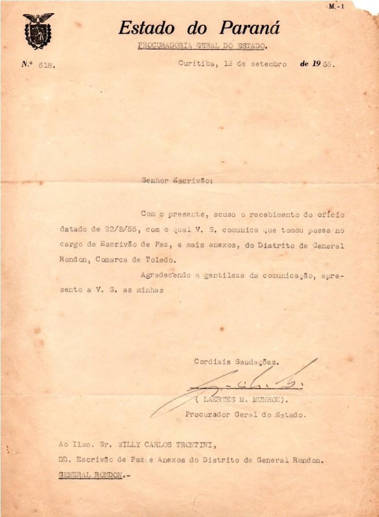 Cópia do ofício da Procuradoria Geral do Estado agradecendo a  Willy Carlos Trentini a  comunicação de  sua posse como Escrivão de Paz do então distrito de General Rondon.