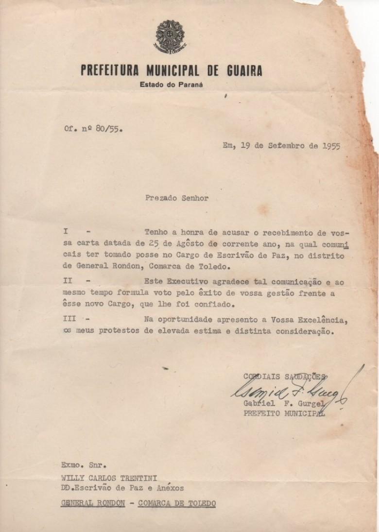 Cópia da correspondência do Prefeito Municipal de Guaíra onde agradece  a comunicação de posse como cartorário em General Rondon.