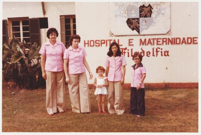 Funcionárias do Hospital Filadélfia, em  1977. À direita, Ledi Sehn (menor estatura).