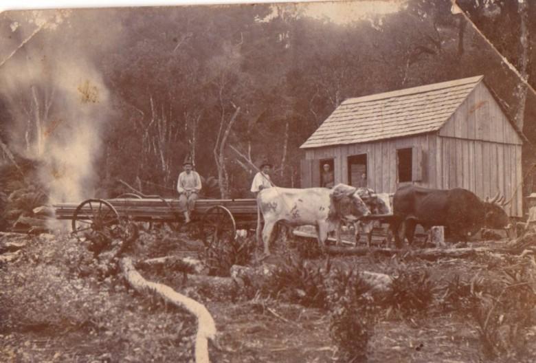 Pioneiro rondonense Leopoldo Witeck  na época que residia em Nova Maratá, município de Porto Unidão (SC).  Na porta, a esposa Catarinha nascida Michaud.