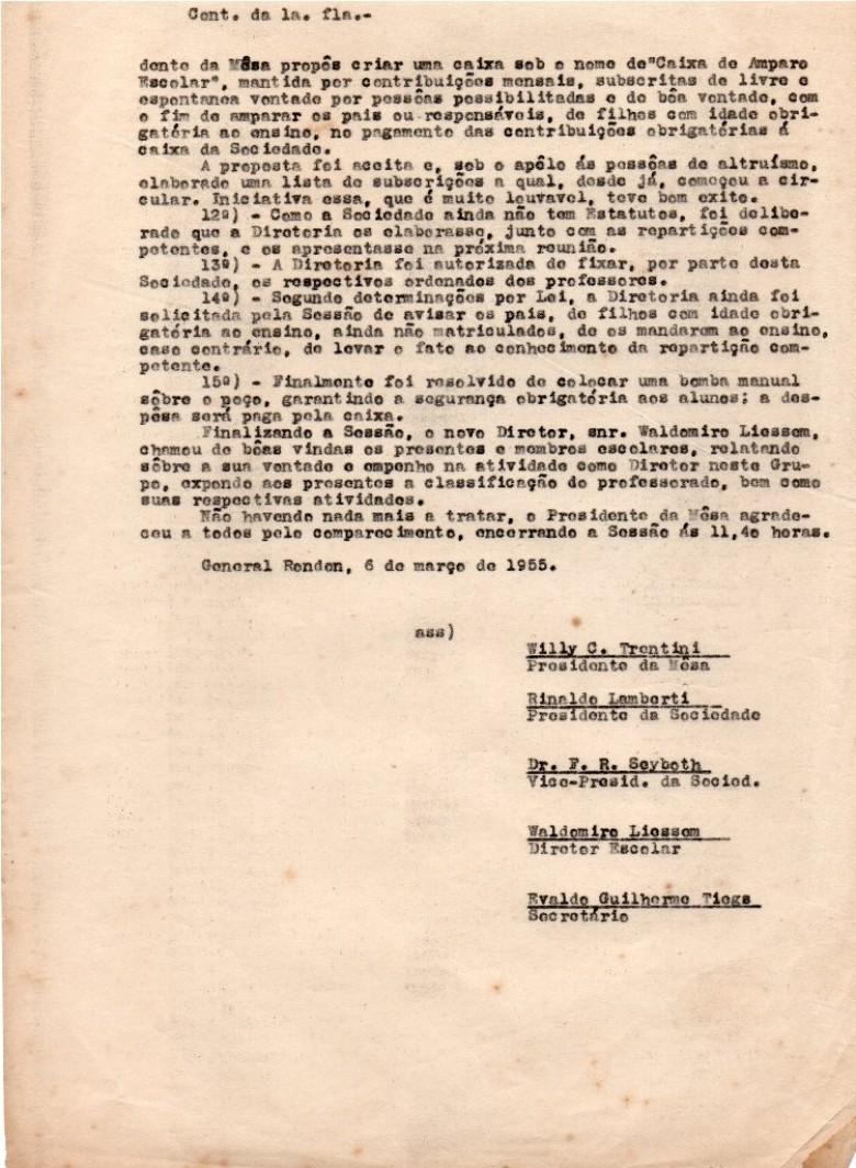 Continuação e final da ata da Assembleia Geral ordinária da então Sociedade Escolar de General Rondon, realizada em 06 de março de 1955.