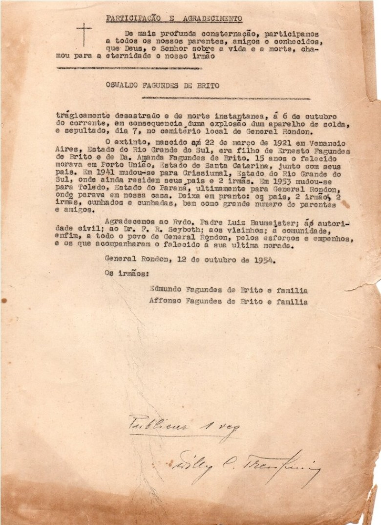 Nota de participação de falecimento do pioneiro Oswaldo Fagundes de Brito preparada pelo correspondente Willy Carlos Trentini para ser publicado no então jornal