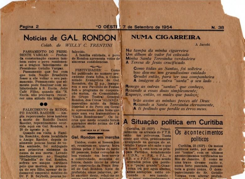 Edição de 7 de setembro de 1954, do jornal