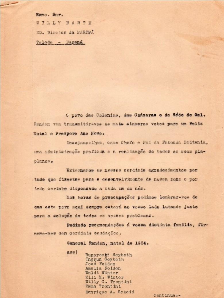 Mensagem natalina e de Ano Novo dos moradores da então vila de General Rondon ao senhor Willy Barth, diretor-geral da colonizadora Maripá e seus respectivos nomes.