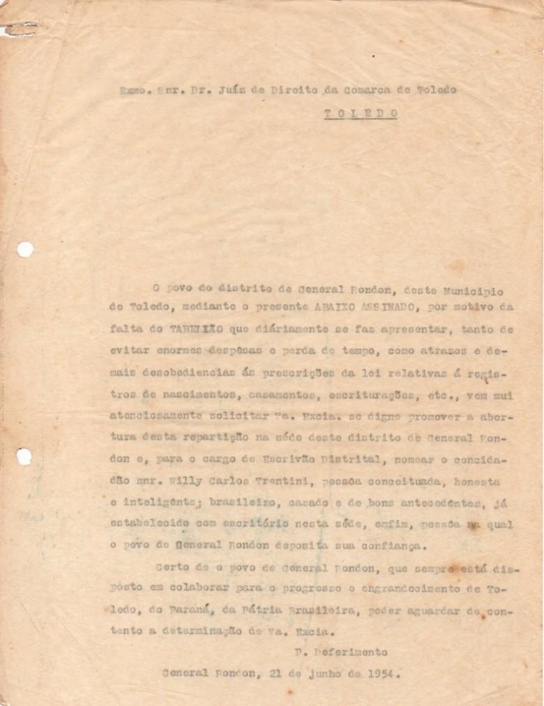 Texto de abertura do abaixo-assinado dos moradores da então Vila General Rondon peticionando a instalação de uma cartório cívil no distrito.