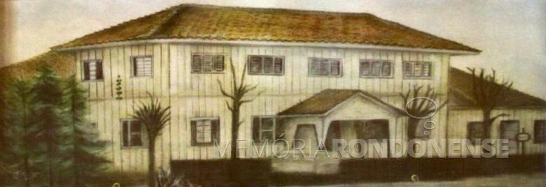 Antiga sede social do Clube de Cantores Aliança, cuja edificação começou em 23 de julho de 1961.  Arte: Mariluza Limberger Imagem: Acervo Clube Aliança - FOTO 2 -