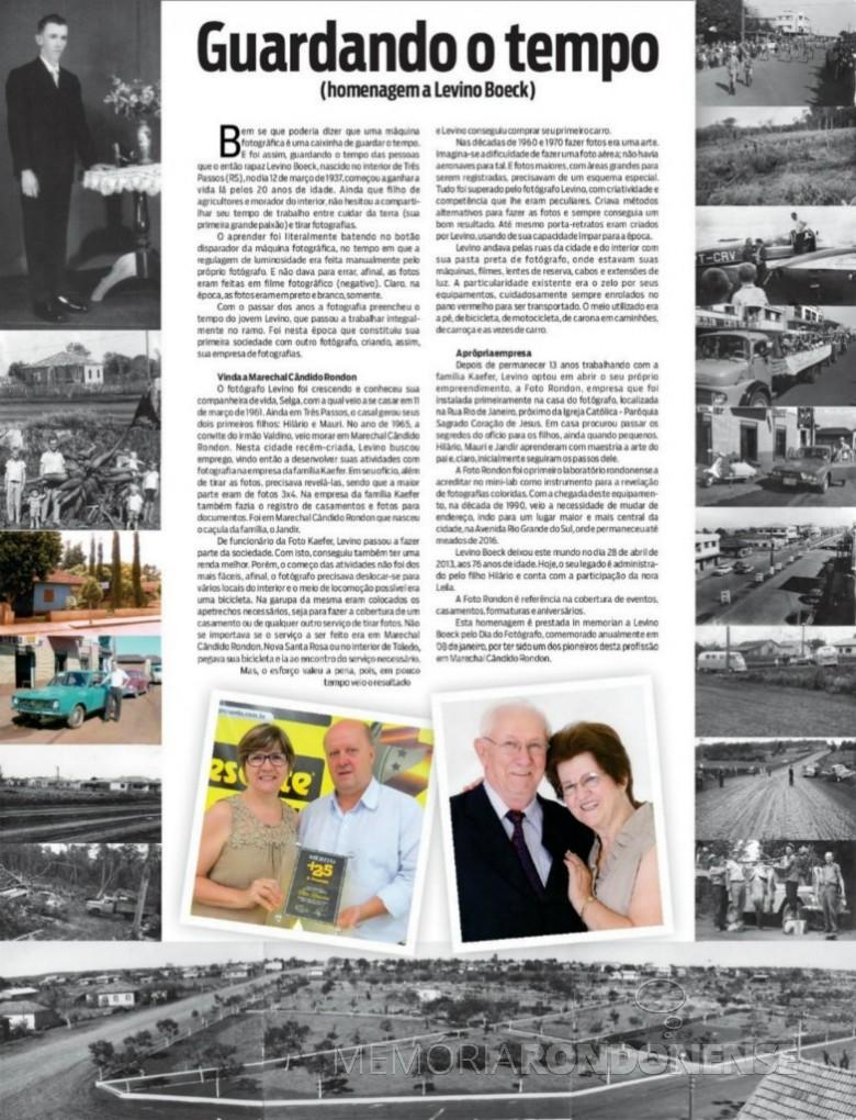 Matéria especial do jornal O Presente sobre o fotógrafo rondonense Levino Boeck.  Imagem: Acervo O Presente - FOTO 7 -