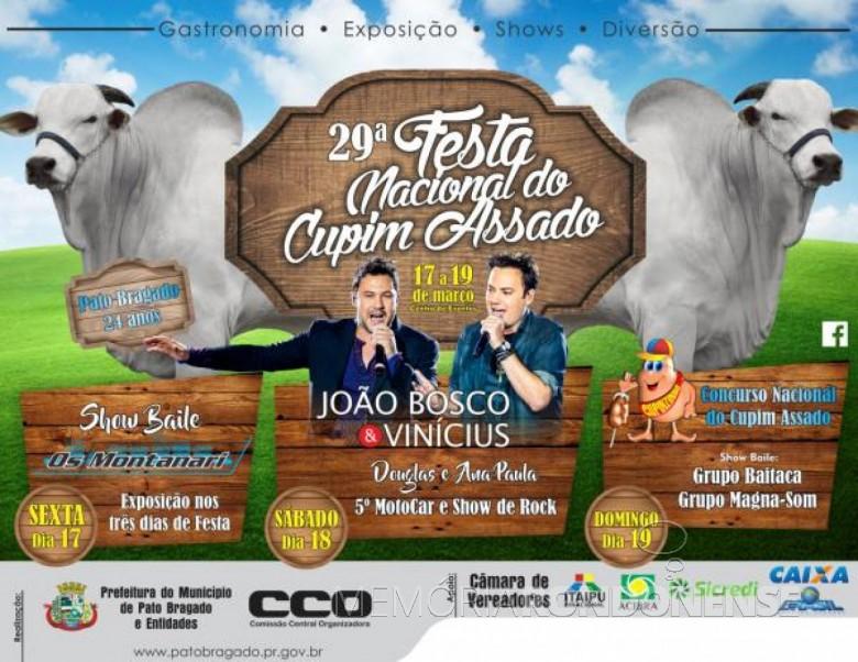 Cartaz da 29ª Festa Nacional do Cupim Assado de Pato Bragado.  Imagem: Acervo Memória Rondonense - FOTO 5 -