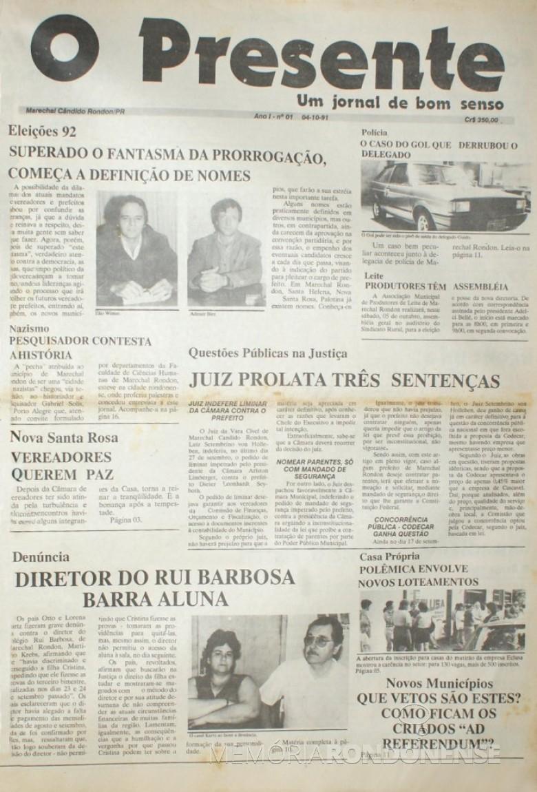 Capa da 1ª edição do jornal rondonense O Presente. Imagem: Acervo Memória Rondonense - FOTO 6 -