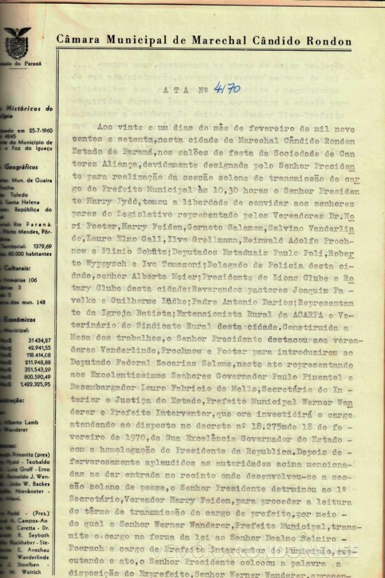 Primeira folha da ata que deu posse a Dealmo Selmiro Poersch .  Imagem: Acerco Câmara Municipal de Marechal Cândido Rondon - FOTO 3 -