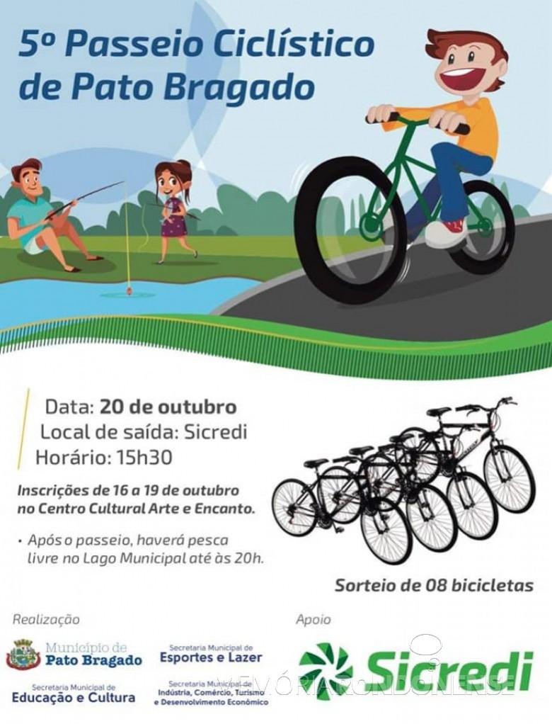 Cartaz-convite do 5º Passeio Ciclístico de Pato Bragado.  Imagem: Acervo Imprensa PM-Pato Bragado - FOTO 24 -