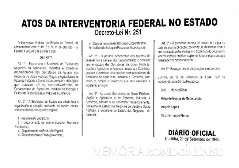 Cópia do Decreto-lei nº 251/1944 que criou a Secretaria de Estado da Agricultura e do Abastecimento do Paraná (SEAB).  Imagem: Acervo  da Secretaria - FOTO 1 -