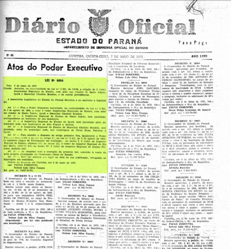 Publicação da Lei Estadual nº 6094/1970, que criou a Inspetoria Regional de Ensino, com sede na cidade de Marechal Cândido Rondon.  Imagem: Acervo Arquivo Público do Paraná - FOTO 3 -