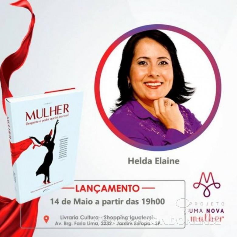 Cartaz de lançamento do livro da palestrante  Helda Elaine Völz Bier, na cidade de São Paulo.  Imagem: Acervo O Presente -- FOTO 11 --