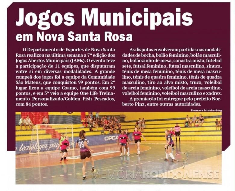 Matéria noticiosa do jornal O Presente ref. o encerramento dos Jogos Abertos Municipais de Nova Santa Rosa.  Imagem: Acervo jornal O Presente - FOTO 12 -