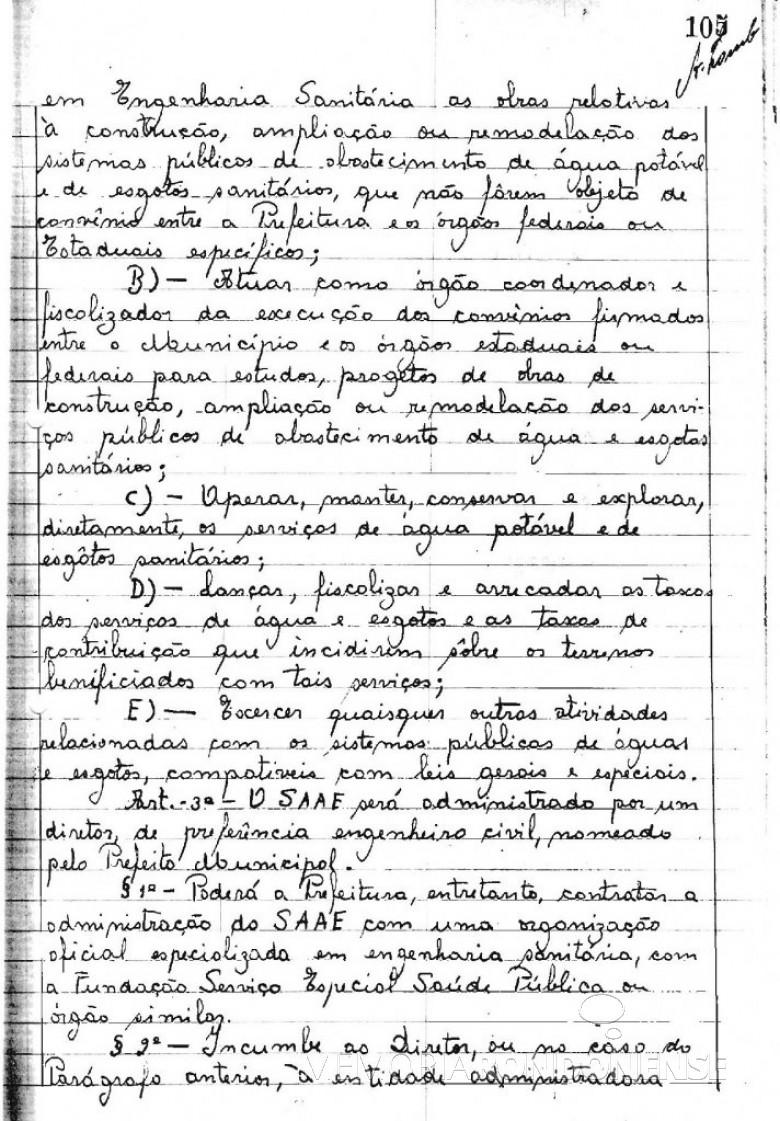 Cópia da Lei Municipal nº 223/66 (2ª página), de 19 de agosto de 1966, que criou o Serviço Autônomo de Água e Esgoto de Marechal Cândido Rondon - o SAAE.  O detalhe curioso é que naquela época as leis eram manuscritas em livros de atas.  Imagem: Acervo Arquivo da Prefeitura Municipal de Marechal Cândido Rondon