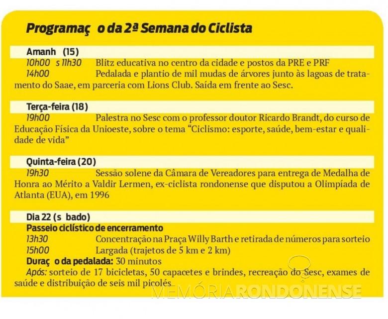 Agenda programática de eventos da 2ª Semana do Ciclista de Marechal Cândido Rondon.  Imagem: Acervo O Presente - FOTO 10 -