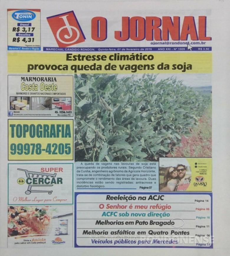 Capa da última edição impressa do jornal rondonense
