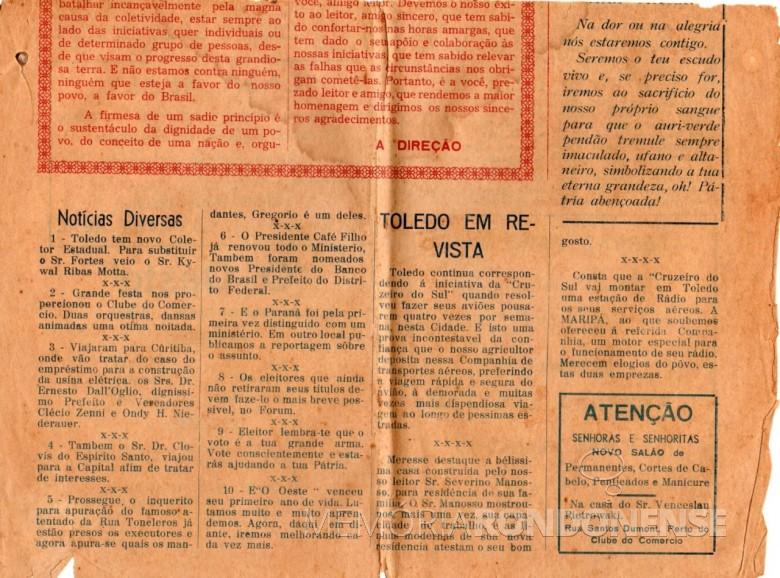 Parte inferior da capa da edição comemorativa de um ano do então jornal