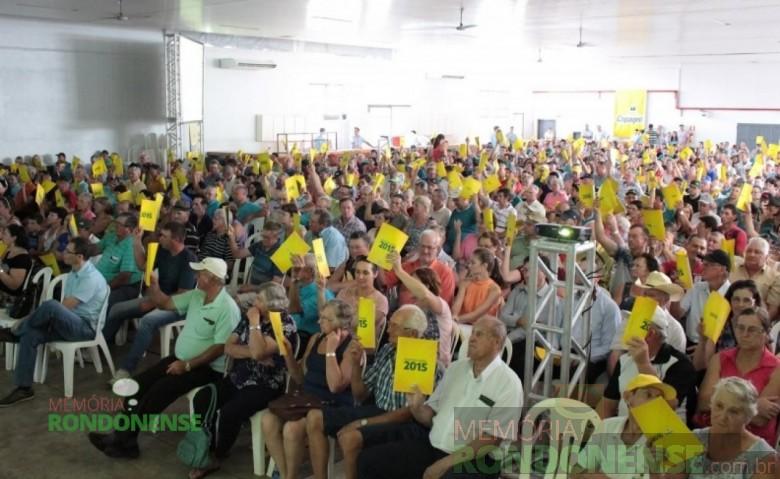 Associados da Copagril aprovando a Prestação de Contas 2015.  Imagem: Imprensa Copagril - FOTO 4 -