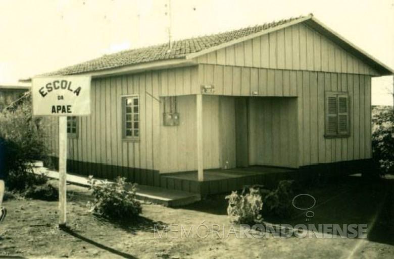 Sede da primeira escola especializada da APAE - Marechal Cândido Rondon. Imagem: Acervo Memória Rondonense - FOTO 6 -