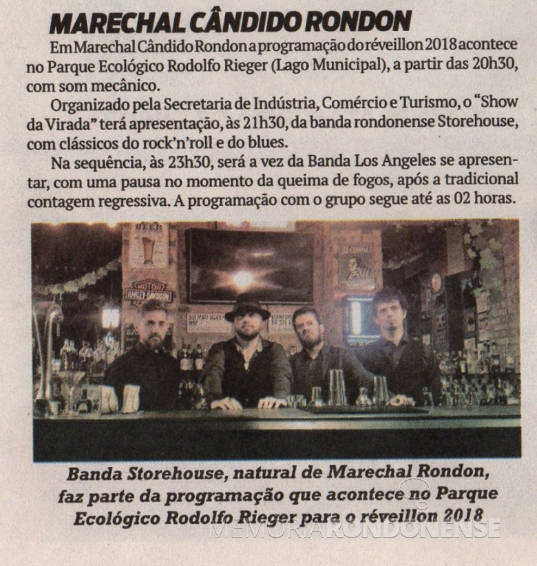 Destaque do jornal O Presente apresentando a agenda de eventos comemorativos a Passagem de Ano.  Imagem: O Presente - FOTO 5 -