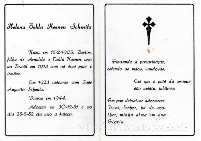 Obituário de Helena Tekla Koennen Schmitz, falecida em 28 de maio de 1982.  Imagem: Acervo Fred Teodoro Koniecziniak - FOTO 5 -
