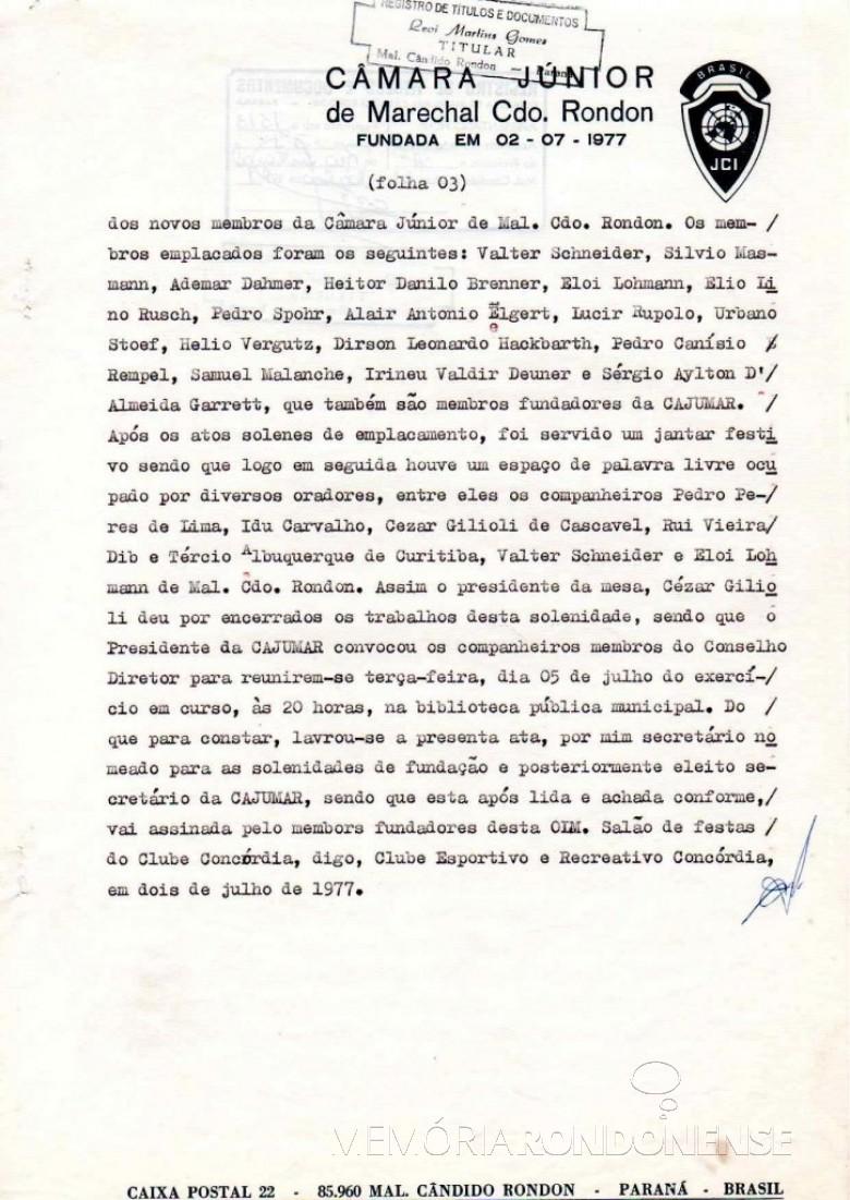 Página final da ata de fundação da JCI - Marechal Cândido Rondon.  Imagem: Acervo JCI - FOTO 7 -