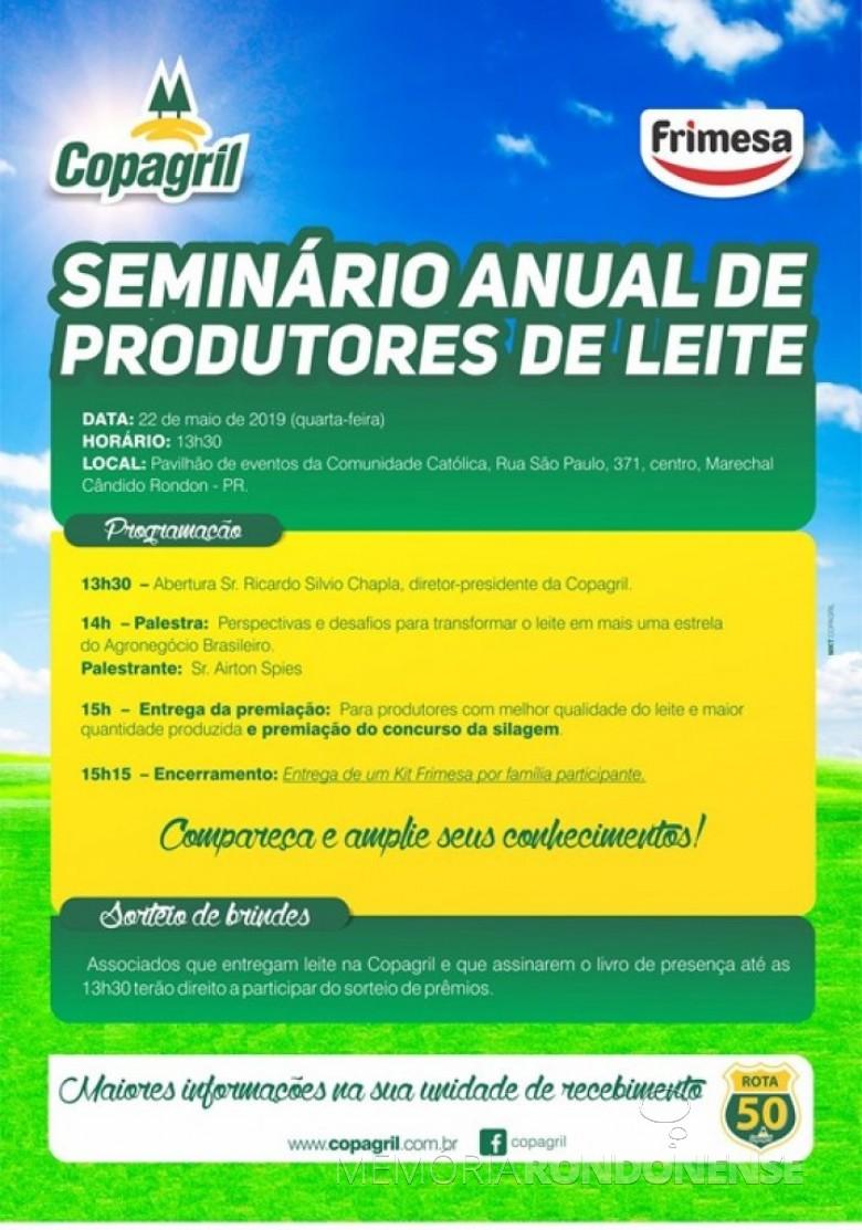 Convite da Copagril para o Seminário de Produtores de Leite 2019.  Imagem: Acervo Comunicação Copagril - FOTO 14 -