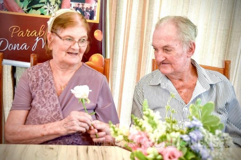 Pioneiro Adolfo Oscar Kunzler, falecido em outubro de 2019,  com esposa Maria (nascida Becker). Imagem: Acervo de Claci Maria Becker Kunzler - Florianopolis - FOTO 19 -