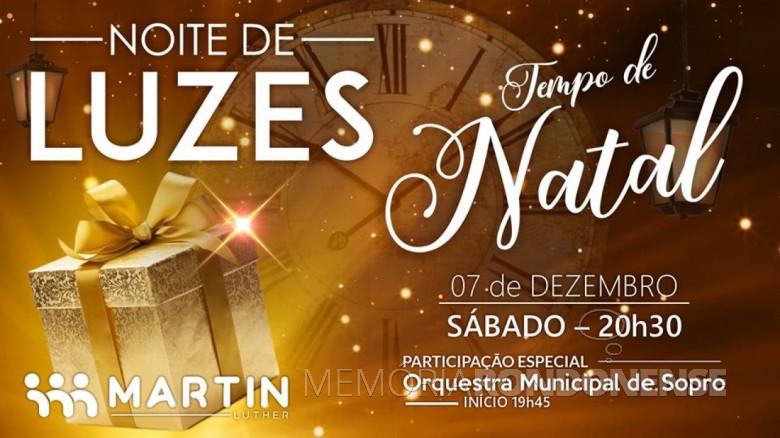 Banner da 21ª Noite de Luzes do Colégio Evangélico Martin Luther. Imagem: Acervo Projeto Memória Rondonense - FOTO 10 -