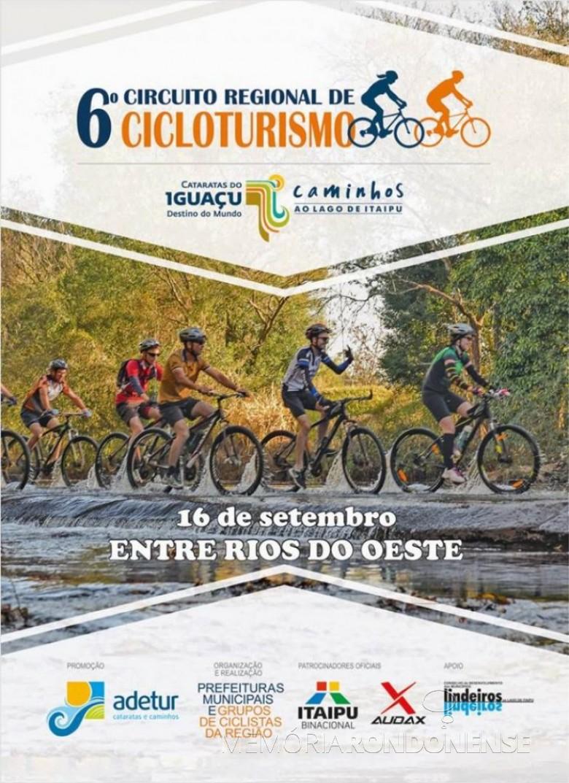 Cartaz alusivo  a 7ª etapa do Cicloturismo na cidade de Entre Rios do Oeste, em setembro de 2019. Imagem: Acervo Projeto Memória Rondonense - FOTO 11 -