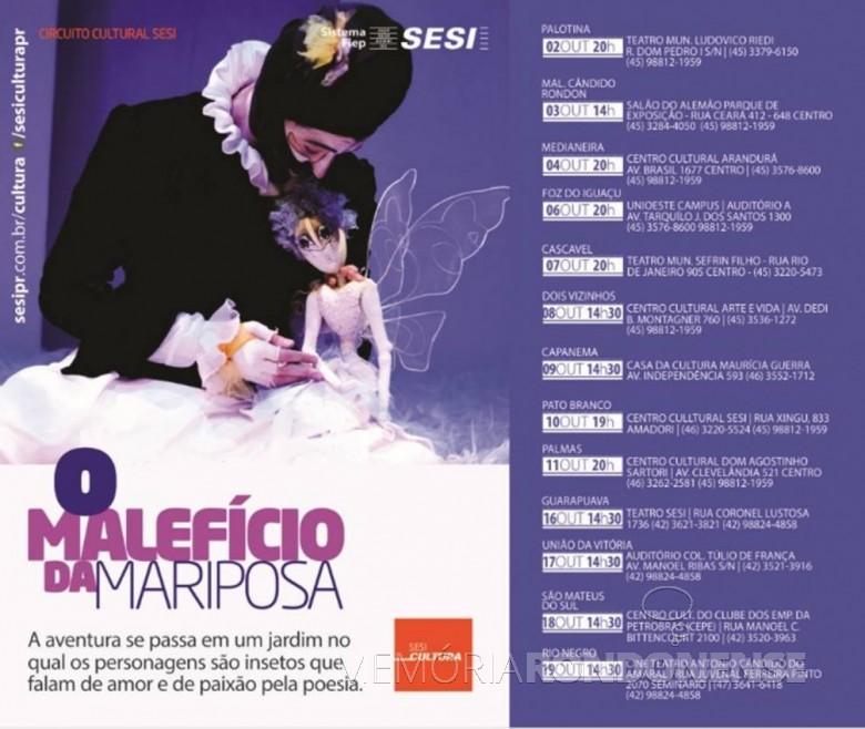 Agenda de datas da apresentação da peça
