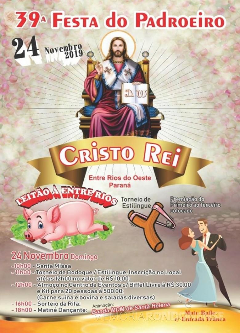 Cartaz da 24ª Festa do Padroeiro Cristo-Rei, de Entre Rios do Oeste. Imagem: Acervo Projeto Memória Rondonense - FOTO 9 -