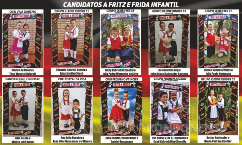 Casais candidatos ao título de Fritz e Frida Infantil da Oktoberfest 2019 de Marechal Cândido Rondon . Imagem: Acervo O Presente - FOTO  9 -