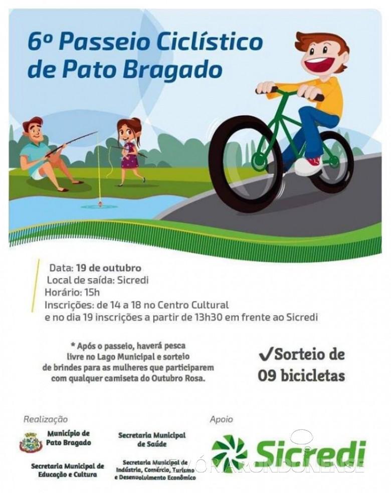 Cartaz do Passeio de Ciclismo de Pato Bragado, em outubro de 2019. Imagem: Acervo Projeto Memória Rondonense - FOTO 6 -