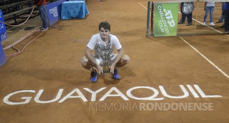 Thiago Seyboth Wild, tenista rondonense vencedor do Challenger de Guayaquil 2019. Imagem: Acervo Globo Esporte - FOTO 13 --