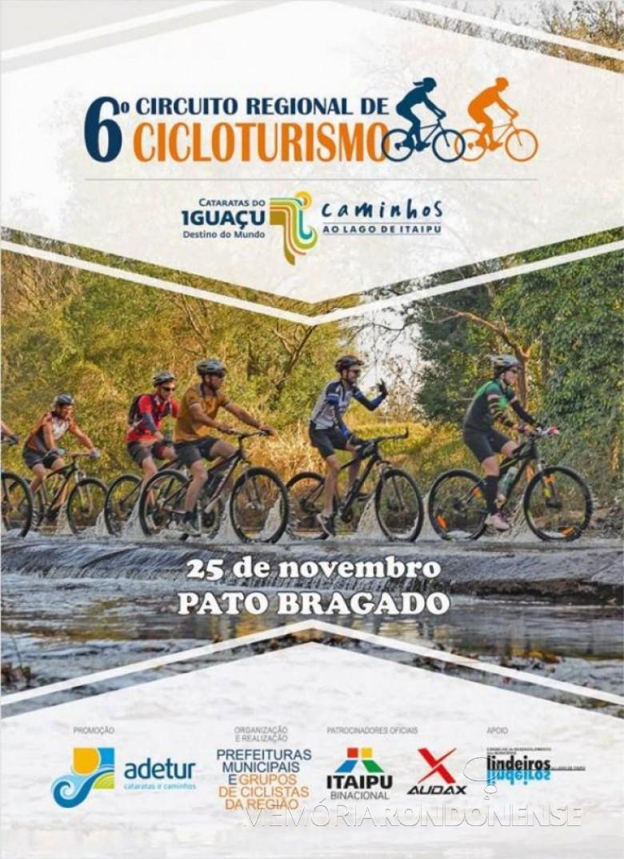 Cartaz da etapa de Pato Bragado da 6º Circuito Regional de Cicloturismo. Imagem: Acervo Projeto Memória Rondonense - FOTO 10  -
