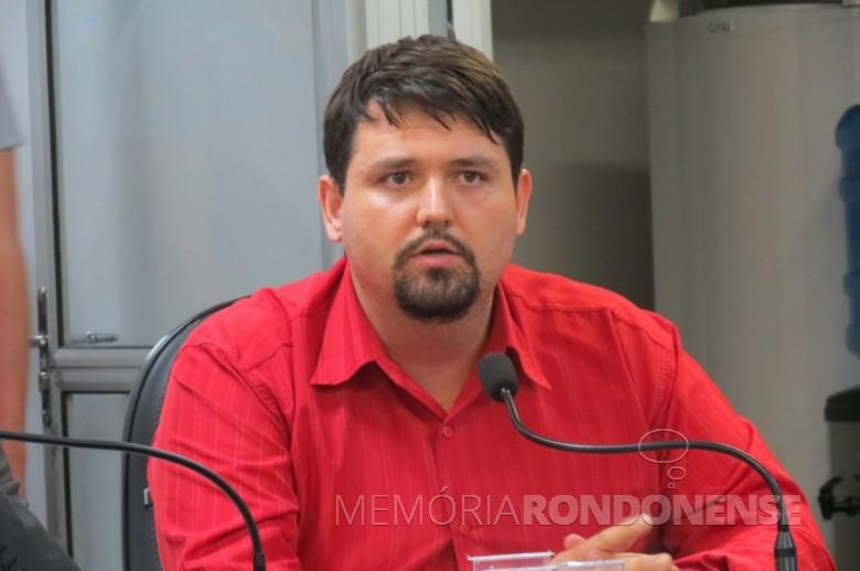 Vereador Josoé Pedralli reconduzido à presidente do diretório municipal do MDB de Marechal Cândido Rondon, no começo de novembro de 2019. Imagem: Acervo O Presente - FOTO 14 -
