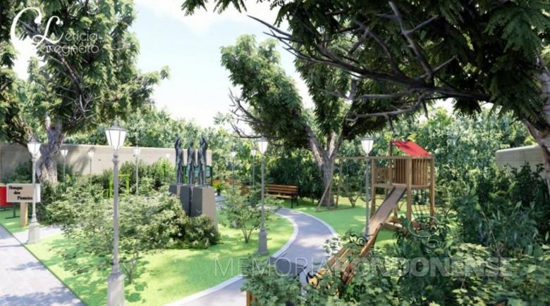 Perspectiva do projeto de revitalização do Bosque dos Pioneiros de Marechal Cândido Rondon, entregue da Câmara Municipal de Marechal Cândido Rondon, em novembro de 2019. Imagem: Acervo O Presente - FOTO 6 -