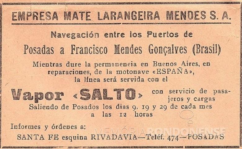 Comunicado pela Empresa Mate Larangeira Mendes S.A., no jornal posadenho La Tarde, setembro de 1940. Imagem: Acervo Ada Bousett - Posadas del Ayer (Posadas). - FOTO 4 -