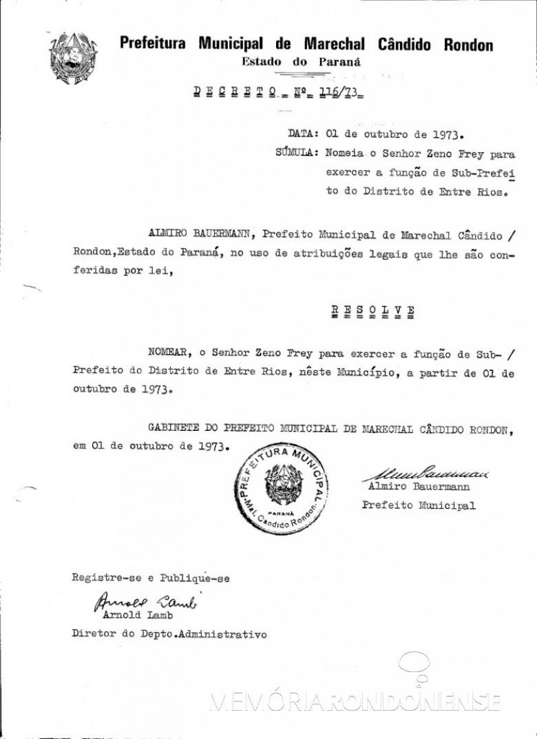 Decreto de nomeação de Zeno Frey para as funções de subprefeito de Entre Rios. Imagem: Acervo Prefeitura Municipal de Marechal Cândido Rondon - FOTO 4 -
