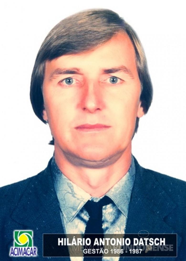 Empresário rondonense Hilário Antonio Datsch eleito presidente da ACIMACAR para a gestão 1986/1987. Imagem: Acervo Acimacar - FOTO 7 -