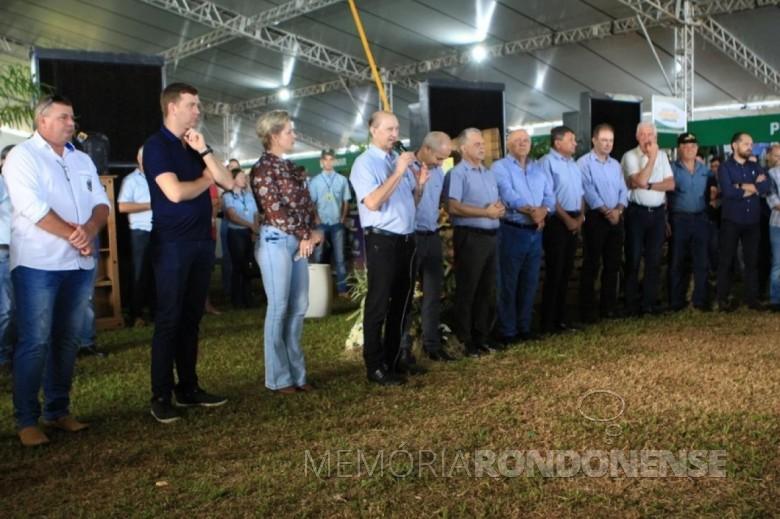 Ricardo Silvio Chapla procedendo a abertura oficial do Dia de Campo Copagril 2020.  Imagem: Acervo O Presente - FOTO 14  -