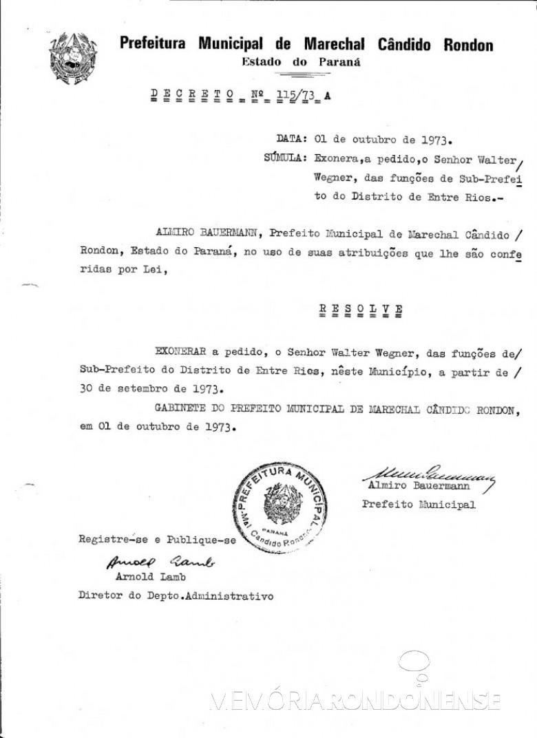 Decreto de exoneração de Walter Wegner como subprefeito de Entre Rios. Imagem: Acervo Prefeitura Municipal de Marechal Cândido Rondon - FOTO 3 -