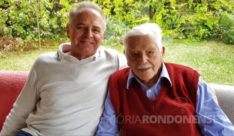 Pioneiro rondonense Arthur Winter com o filho Elio Edvino. Imagem:  Acervo pessoal - FOTO 12 -