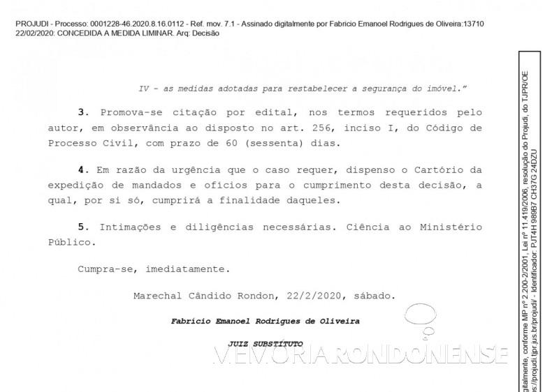 Página final da liminar concedida pelo juiz de direito substituto Fabrício Emanoel Rodrigues de Oliveira em favor do município de Marechal Cândido Rondon, em fevereiro de 2020. Imagem: Acervo Projeto Memória Rondonense - FOTO 13 -